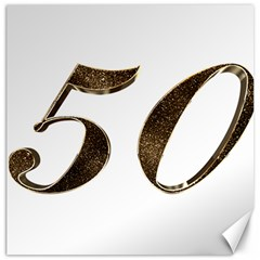 Number 50 Elegant Gold Glitter Look Typography Canvas 16  x 16