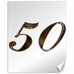 Number 50 Elegant Gold Glitter Look Typography Canvas 16  X 20