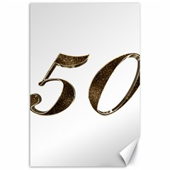 Number 50 Elegant Gold Glitter Look Typography Canvas 24  x 36