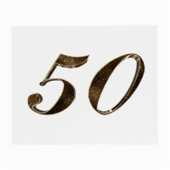 Number 50 Elegant Gold Glitter Look Typography Small Glasses Cloth (2 Side)