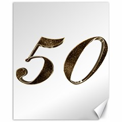 Number 50 Elegant Gold Glitter Look Typography Canvas 11  X 14