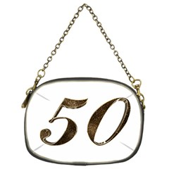 Number 50 Elegant Gold Glitter Look Typography Chain Purses (Two Sides)