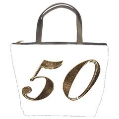 Number 50 Elegant Gold Glitter Look Typography Bucket Bags