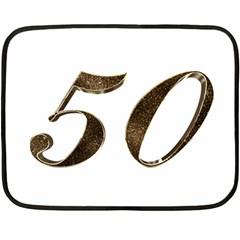 Number 50 Elegant Gold Glitter Look Typography Fleece Blanket (mini)