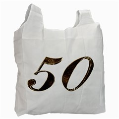 Number 50 Elegant Gold Glitter Look Typography Recycle Bag (Two Side)