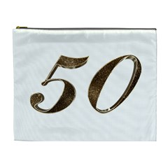Number 50 Elegant Gold Glitter Look Typography Cosmetic Bag (XL)