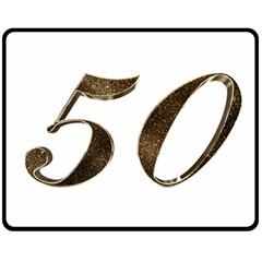 Number 50 Elegant Gold Glitter Look Typography Fleece Blanket (medium)