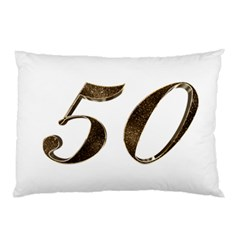 Number 50 Elegant Gold Glitter Look Typography Pillow Case (Two Sides)