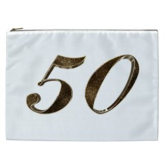 Number 50 Elegant Gold Glitter Look Typography Cosmetic Bag (xxl)