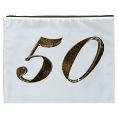 Number 50 Elegant Gold Glitter Look Typography Cosmetic Bag (XXXL)