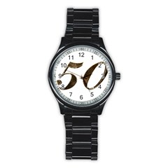 Number 50 Elegant Gold Glitter Look Typography Stainless Steel Round Watch