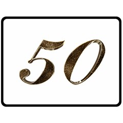 Number 50 Elegant Gold Glitter Look Typography Double Sided Fleece Blanket (Large)