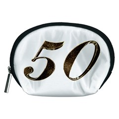 Number 50 Elegant Gold Glitter Look Typography Accessory Pouches (Medium)