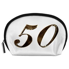 Number 50 Elegant Gold Glitter Look Typography Accessory Pouches (large)