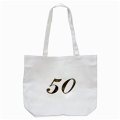 Number 50 Elegant Gold Glitter Look Typography Tote Bag (white)