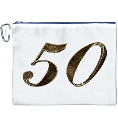 Number 50 Elegant Gold Glitter Look Typography Canvas Cosmetic Bag (xxxl)