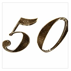 Number 50 Elegant Gold Glitter Look Typography Large Satin Scarf (square)