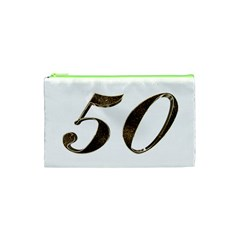 Number 50 Elegant Gold Glitter Look Typography Cosmetic Bag (XS)