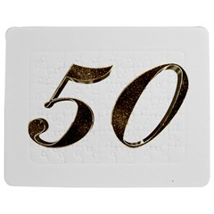 Number 50 Elegant Gold Glitter Look Typography Jigsaw Puzzle Photo Stand (rectangular)