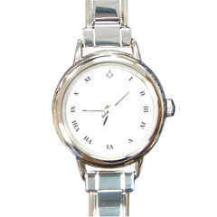 White Face Square & Compass in 12 O Clock Position with Roman Numerals  Round Italian Charm Watch