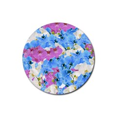 Tulips Flower Pattern Rubber Round Coaster (4 pack)