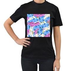 Tulips Flower Pattern Women s T-Shirt (Black)
