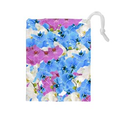 Tulips Flower Pattern Drawstring Pouches (large)