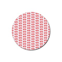 Red Lotus Floral Pattern Rubber Coaster (Round)