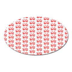 Red Lotus Floral Pattern Oval Magnet