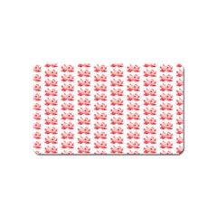 Red Lotus Floral Pattern Magnet (Name Card)