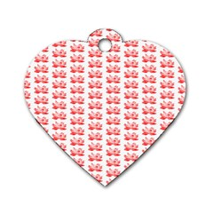 Red Lotus Floral Pattern Dog Tag Heart (Two Sides)