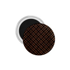 Woven2 Black Marble & Brown Wood 1 75  Magnet