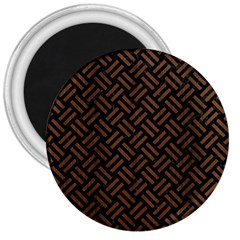 Woven2 Black Marble & Brown Wood 3  Magnet