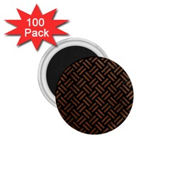 Woven2 Black Marble & Brown Wood 1 75  Magnet (100 Pack)