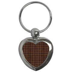 Wov1 Bk Mrbl Br Wood (r) Key Chains (heart)