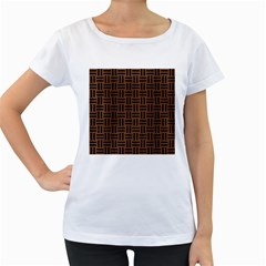 WOV1 BK-MRBL BR-WOOD (R) Women s Loose-Fit T-Shirt (White)