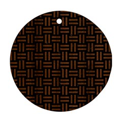 Woven1 Black Marble & Brown Wood Ornament (round)