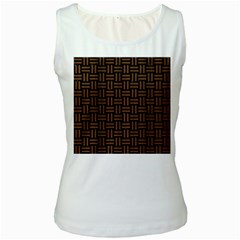 Woven1 Black Marble & Brown Wood Women s White Tank Top