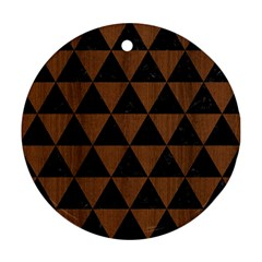 Triangle3 Black Marble & Brown Wood Ornament (round)