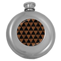 TRI3 BK-MRBL BR-WOOD Round Hip Flask (5 oz)