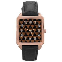 Tri3 Bk Mrbl Br Wood Rose Gold Leather Watch