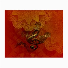 Golden Clef On Vintage Background Small Glasses Cloth (2 Side)