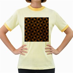 TRI1 BK-MRBL BR-WOOD Women s Fitted Ringer T-Shirts