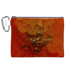 Golden Clef On Vintage Background Canvas Cosmetic Bag (xl)