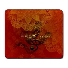 Golden Clef On Vintage Background Large Mousepads