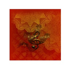 Golden Clef On Vintage Background Small Satin Scarf (Square)
