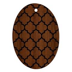 Til1 Bk Mrbl Br Wood (r) Oval Ornament (two Sides)