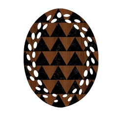 Triangle2 Black Marble & Brown Wood Oval Filigree Ornament (two Sides)
