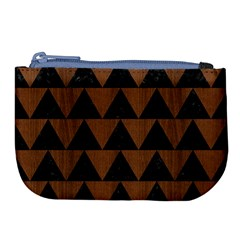 Triangle2 Black Marble & Brown Wood Large Coin Purse