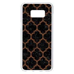 Tile1 Black Marble & Brown Wood Samsung Galaxy S8 Plus White Seamless Case